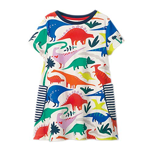 Little Girl Summer Casual Dress - Flower/Unicorn/Bunny/Dinosaur Toddler Cotton Outfit Size ()