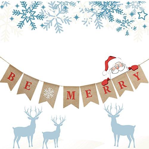 Be Merry Burlap Banner, Christmas Garlands Banner for Christmas Decorations (Be Merry Banner) by Acatle