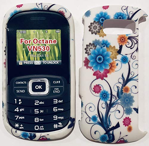(Hard Plastic Snap on Cover Faceplate Fits LG VN530 Octane Blue Floral Flower (Rubberized))