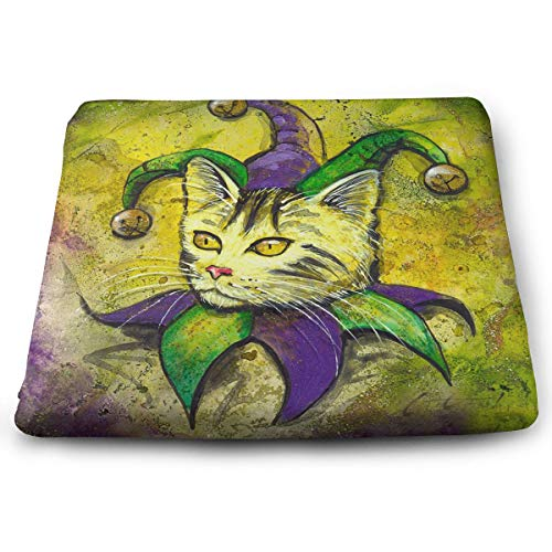 Square Cushion Mardi Gras Jester Cat Burn Chair Pads Durable Polyester Seat Pillow Cushion Softness Memory Foam Winter Cold Cushion with Non Skid Rubber for Home Office Bedroom