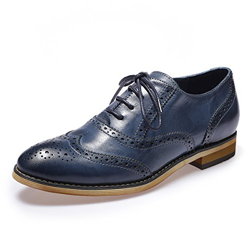 Mona flying Womens Leather Perforated Brogue Wingtip Derby Saddle Oxfords Shoes for Womens ladis Girls Blue