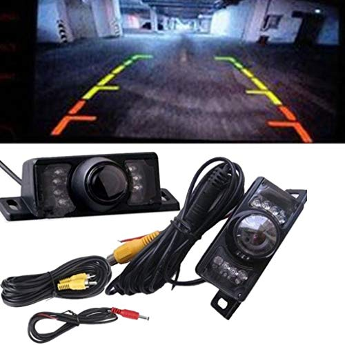 Glumes License Plate Rear View Reversing Backup Camera - Perfect Wide View Angle Design 7 LED Lights Night Vision Color CMOS Waterproof Universal Car Backing Camera (Black) by Glumes (Image #3)