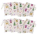 MagiDeal 10pcs Drawstring Bag Small Linen Bags Burlap Bag Pouch for Christmas Gift - natural linen, 8x10cm
