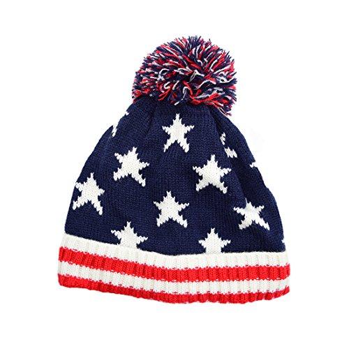 Maying Kids Baby Girl & Boy Toddler American Flag Knit Hat