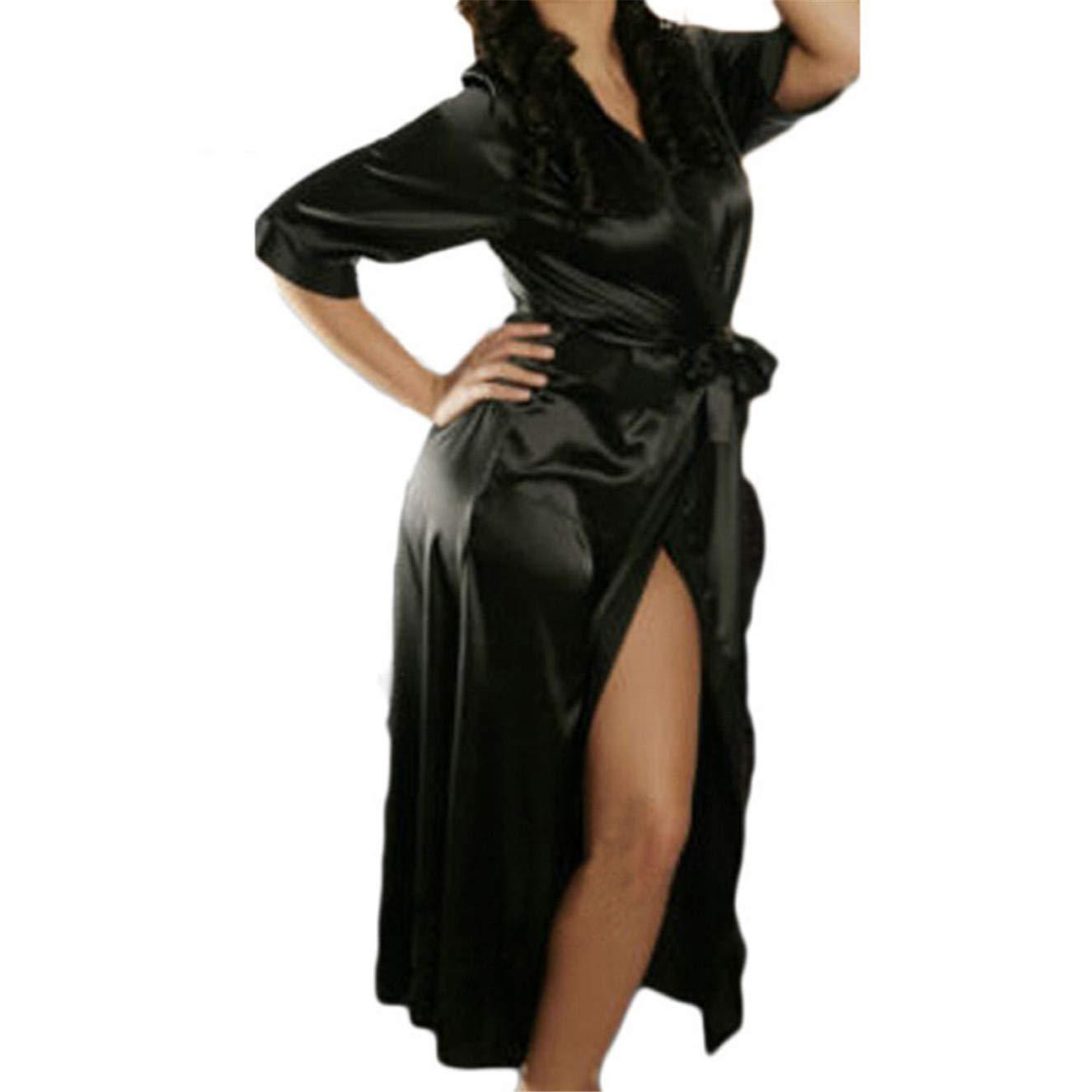 TIFENNY Women's Sexy Satin Ice Silk Bath Robe Babydoll Lingerie Nightdress Underwear Bathrobe Long Dress Black