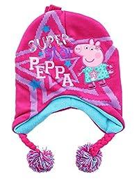 Peppa Pig Super Star Girls Beanie Knit Pom Pom Hat Glove Set, Pink