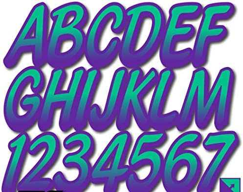 Stiffie Whipline Seafoam Green//Purple 3 Alpha-Numeric Registration Identification Numbers Stickers Decals for Boats /& Personal Watercraft