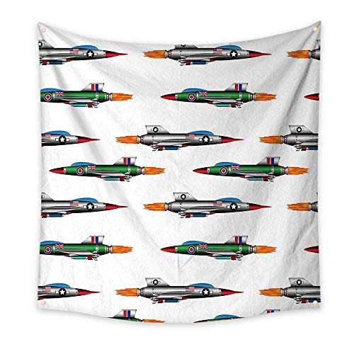 Modern Tapestries Collection - Airplane Funny Tapestry Collection of Jet-Planes Aviation Attack Modern Technology United Kingdom Model Quote Tapestry Multicolor 47W x 47L Inch