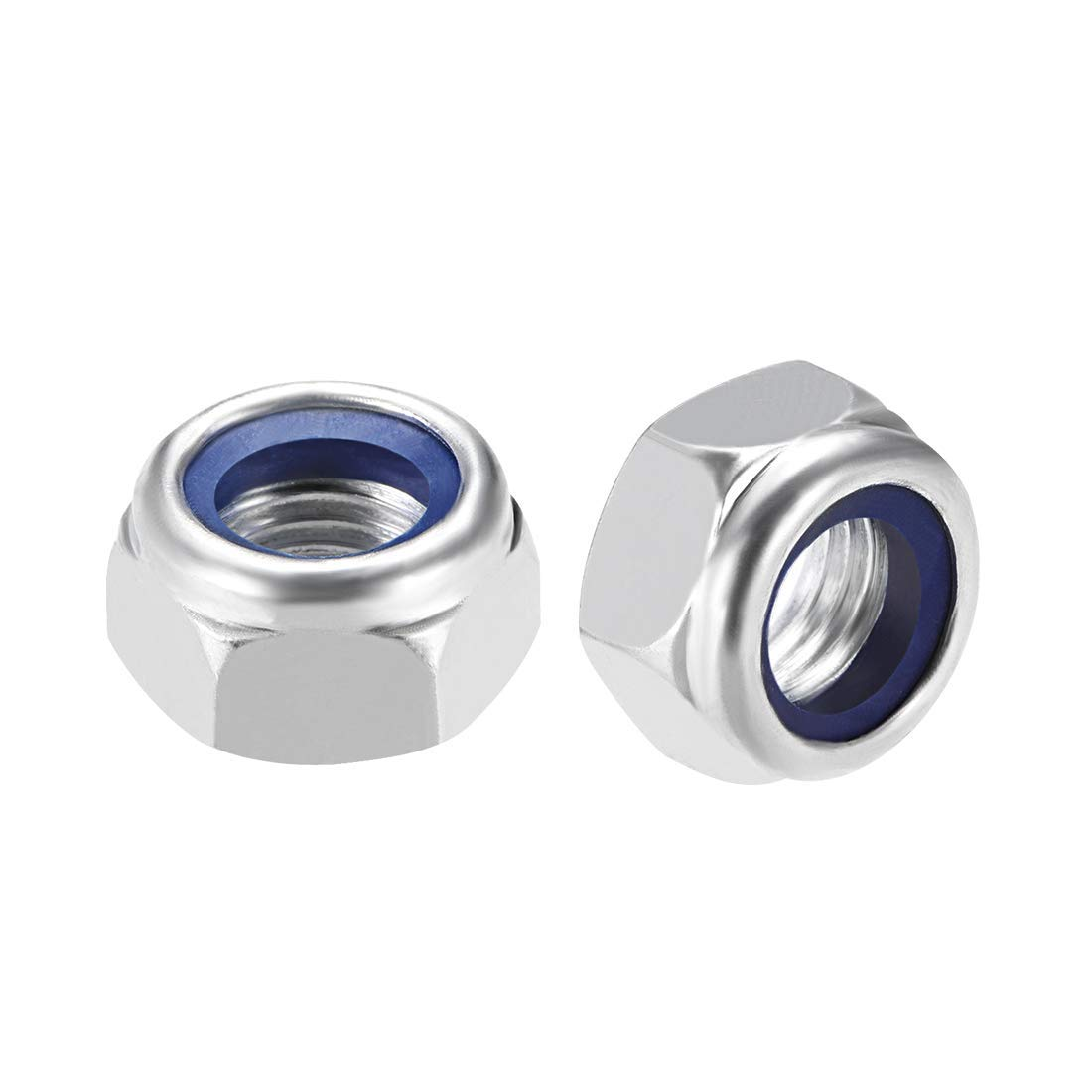 Pack of 5 Galvanized White Carbon Steel Hexagonal Safety Nuts with M16 x 2 mm Nylon Insert