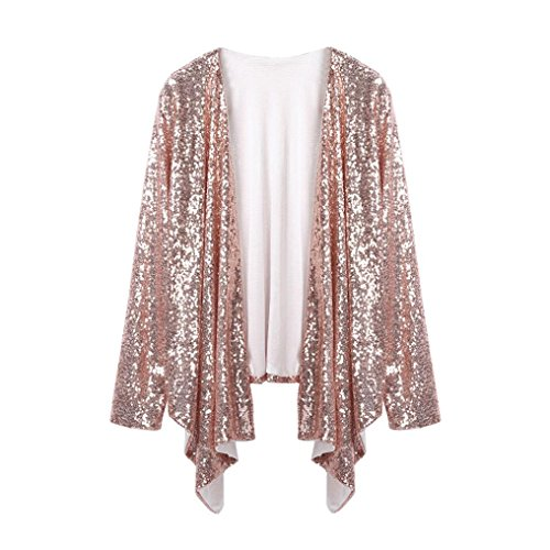 Amiley Hot Sale Women Long Sleeve Solid Sequined Bling Bling Party Irregular Cardigan Tops Cover Up Blouse (Pink, M) by Amiley