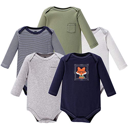 Hudson Baby Unisex Baby Long Sleeve Cotton Bodysuits, Mr. Fox Long Sleeve 5 Pack, 3-6 Months (6M)