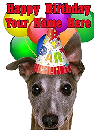 Whippet Dog Party Hat Card Codewhl Birthday A5 Personalised Greeting Amazoncouk Office Products