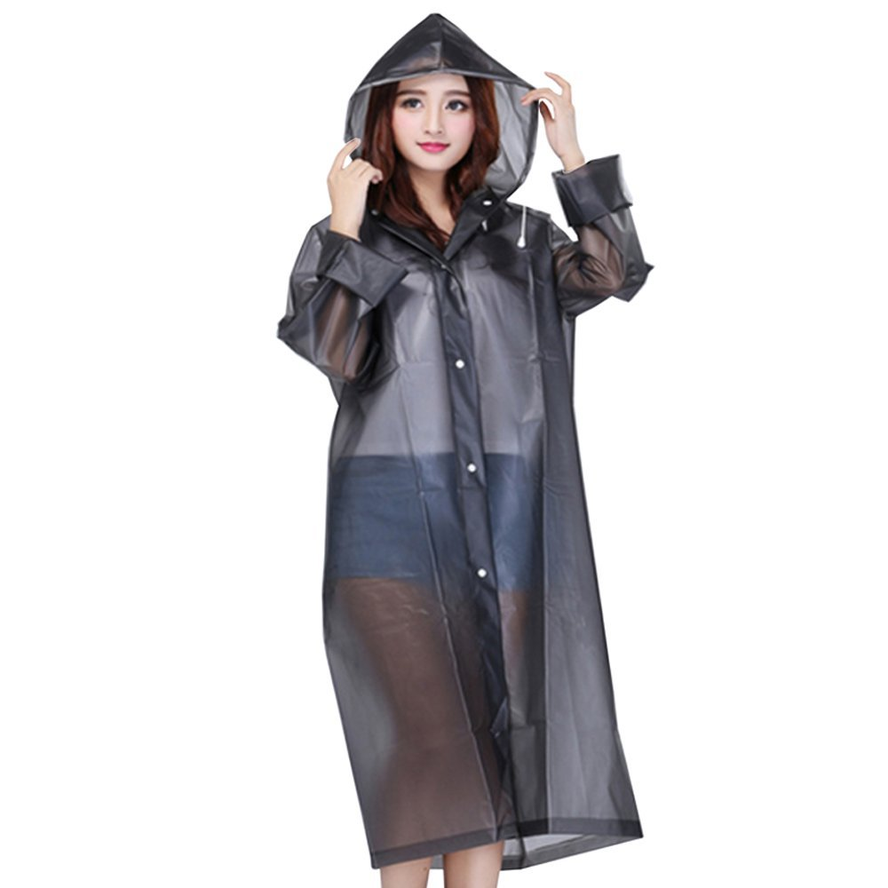 KALAIXING Portable Raincoat Rain Poncho with Hoods and Sleeves, Keep The Rain/Snow / Water Off Your Clothes, for Camping/Travel / Mountaineering-Gray