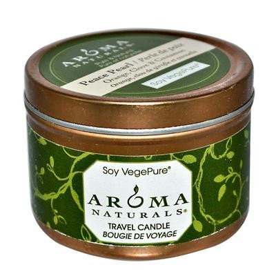 Aroma Naturals Soy Vegepure Travel Candle - Peace Pearl Orange Clove And Cinnamon - 2.8 Oz