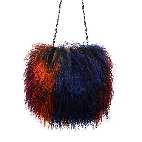 URSFUR Womens Mongolian Lamb Fur Cluth Girls Handbag Purse Bags with Chain rainbow