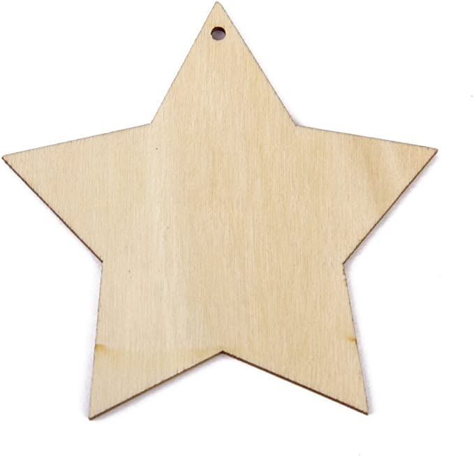 Brilliant Buys 10 x Madera Estrella Formas Beige 100mm Simple Madera Manualidades Etiquetas con Agujero