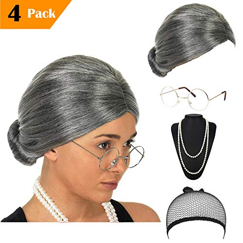 Women's Cosplay Costume Old Lady Wig, w/Round Glasses & Pearl Necklace Beads Costume Accessories for Dress up Perform (C2) -