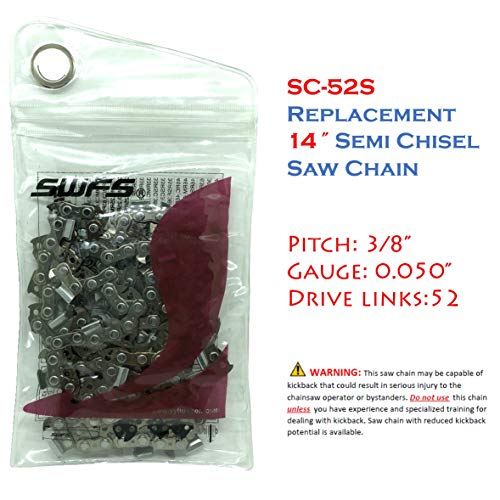 Reliable Replacement 14 Inch Semi Chisel Chainsaw Chain S52 for Craftsman, Echo, Hitachi, Husqvarna 531300372 and Others ()