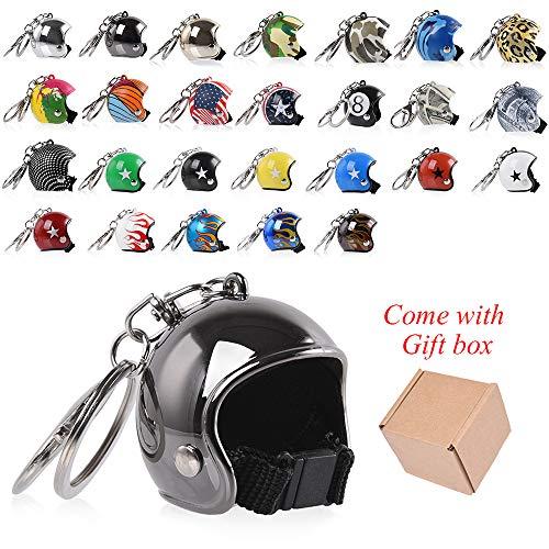 FATExpress Mini Motorcycle Helmet Keychain Keyring Key Chain Ring Pendant Men Women Kid Gift Birthday Christmas Xmax New Year Present Collection Souvenir (C2) ()