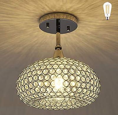 SHUPREGU Lighting, 1 Light Chrome Finish Flush Mount Light Fixture, Real Crystal Chandelier, Ceiling Light Fixture Flush Mount. LED Bulb Not Included