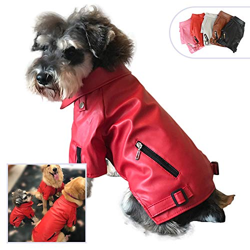 Lovelonglong Cool Dog Leather Jacket, Warm Coats Dogs Windproof Cold Weather Coats for Large Medium Small Dogs, Red Color Clothes for Yorkshire Terrier