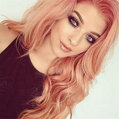 ATOZWIG Peach Red Wig For Women Hairstyle Rose Gold Pastel Pink Wig Girls Middle Part Synthetic Lace Front Wig With Heat Resistant Fiber