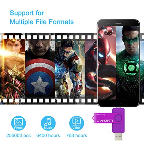 leizhan 64GB Type C USB Flash Drive USB 3.0 USB C Phone Picture Stick for Samsung Galaxy S10,S9,S8,S8 Plus, Note 9, XiaoMi 6, Google Pixel XL, Purple