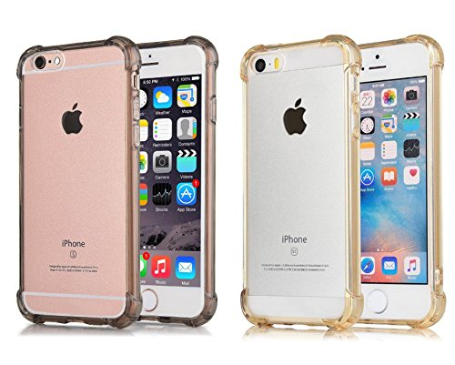 Newton Crystal ([2Pack]iPhone 6S Plus Case iPhone 6 Plus Case, CaseHQ Crystal Clear Enhanced Grip Protective Defender cover Soft TPU Shell Shock-Absorption Bumper Anti-Scratch Air Cushioned 4 Corners grey+Gold)