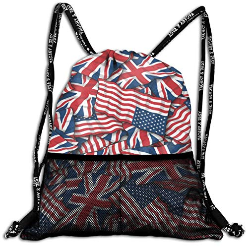 Men & Women Premium Polyester Drawstring Backpack British American Flag Pattern Daypack Theft Proof Lightweight For Sport Soccer Baseball Bag Large For Camping, Yoga - Chair Bag Bean Volleyball