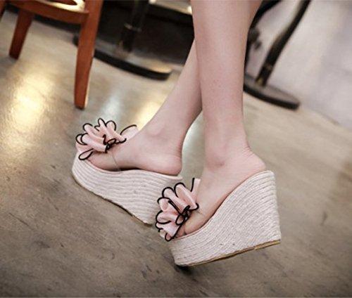 pendiente zapatillas arrastre suelte la y con elegante 37 palabra Transpirable Bizcocho rosa Moda 34 AJUNR 11cm paja Sandalias O6C4BqHwx