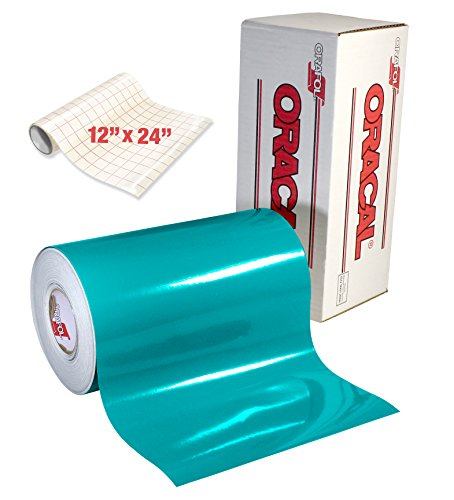 - ORACAL 651 Gloss Turquoise Adhesive Craft Vinyl for Cameo, Cricut & Silhouette Including Free Roll of Clear Transfer Paper (6ft x 12