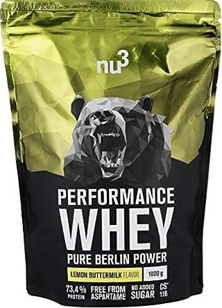 nu3 Performance Whey Protein - 1kg suero en polvo sabor buttermilk-limón - 73.4% de proteína por porción - Con aminoácidos BCAAs + proteína isolate - ...