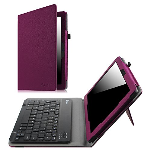 Fintie Dragon Touch X10 (Previous Edition, 2015 Release) Keyboard Case - Premium PU Leather Folio Cover with Removable Wireless Bluetooth Keyboard for Dragon Touch X10/Fusion5 108 10.6 Tablet, Purple