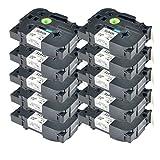 NineLeaf 10 Pack Laminated Tapes Compatible for Brother TZe-241 TZe241 TZ-241 TZ241 18mm Black on White