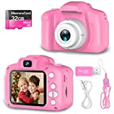 Hachi's Choice Gift Kids Camera Toys for 1-9 Year Old Girls, Compact Cameras for Children,Best Birthday Festival Gift for 2-8 Year Old Girl,Pink(32G SD Card Included)