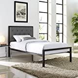 Platform Bed, Queen Size, Black Metal, Grey Fabric