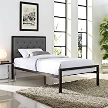 Platform Bed, Double/Full Size, Black Metal, Grey Fabric
