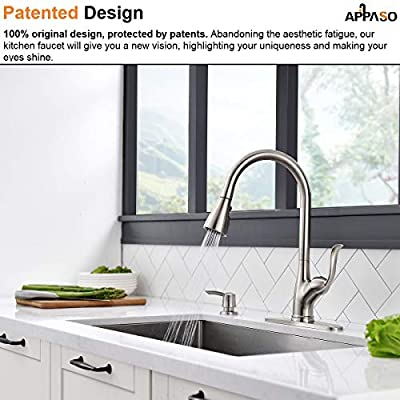 Patented Kitchen Faucet With Pull Down Sprayer And Soap Dispenser Single Handle Stainless Steel Brushed Nickel High Arc Pull Out Kitchen Sink