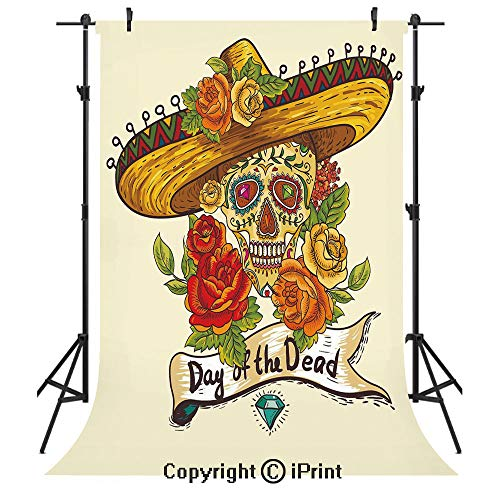 Sugar Skull Decor Photography Backdrops,Skull in Sombrero Traditional Mexican Culture Theme Roses Day of the Dead Decorative,Birthday Party Seamless Photo Studio Booth Background Banner 3x5ft,Multicol -
