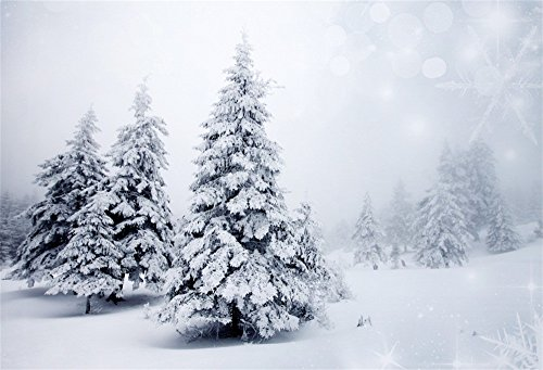 LFEEY 10x8ft Fairy Tale Winter Wedding Background Birthday Party Events New Year Photo Booth Snow-Capped Pine Forest Wonderland Christmas Tree Backdrop for Photography Photo Studio Props]()
