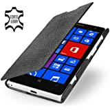 StilGut UltraSlim Genuine Leather Case for Nokia Lumia 1020 in Book Type Style, Black
