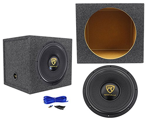 Rockville W15K9D4 15″ 5000 Watt Car Audio Subwoofer+Sealed Sub Box Enclosure