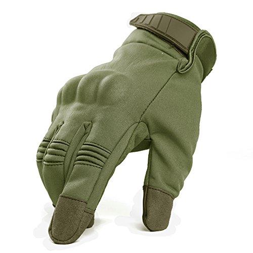 - TACVASEN Men's Touch Screen Hard Knuckle Combat Full Finger Motorbike Riding Military Assault Gloves Army Green