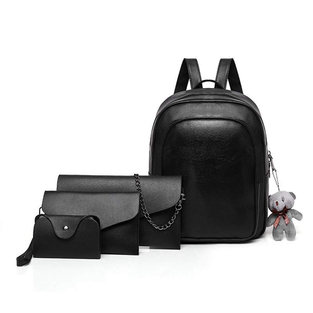 Black DYR Casual Shoulder Bag Travel Bag Mother Bag FourPiece Outdoor Shoulder Bag Handbag Chest Bag