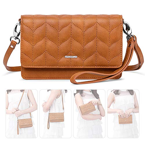 nuoku Women Small Crossbody Bag Cellphone Purse Wallet with RFID Card Slots 2 Strap Wristlet(Max 6.5'') ... (Brown1)