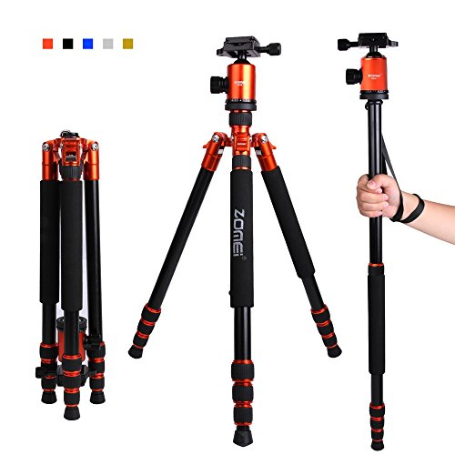 Zomei Z818 65-inch Lightweight Camera Tripod Monopod, Aluminum Portable Detachable Monopod, 360 degree Ball Head, 1/4″ Quick Release Plate with Carrying Bag for Canon Nikon Sony Load (Orange)