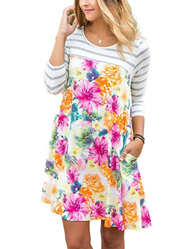 3/4 sleeve casual summer dresses - 2