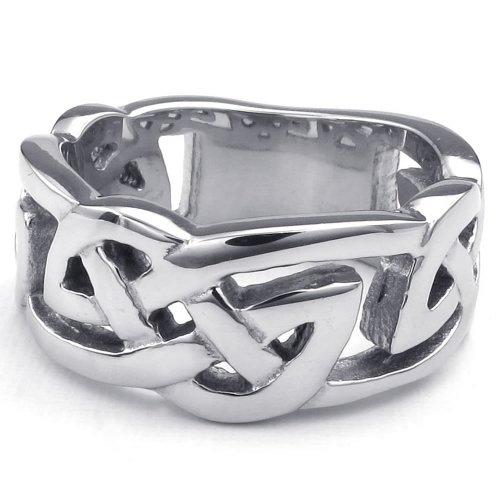 KONOV-Joyera-Anillo-de-hombre-mujer-Clsicos-Nudo-Celta-Celtic-Knot-10mm-Acero-inoxidable-Color-plata-con-bolsa-de-regalo