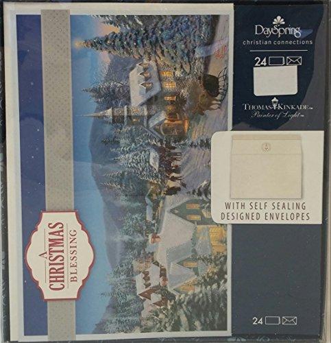 DaySpring Thomas Kinkade 24-Count Holiday Card Kit (Holiday Traditions)