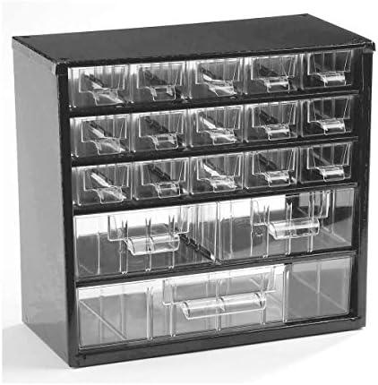 Certeo Schubladenmagazin aus Stahl   HxBxT - 282 x 306 x 155 mm   18 transparente Schubladen - 3 Größen  Gehäuse ultramarinblau  Kleinteilemagazin Klarsichtmagazin